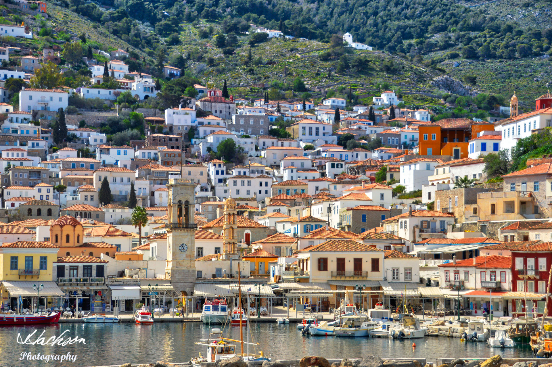 Photo of the view of the Greek Island of Hydra