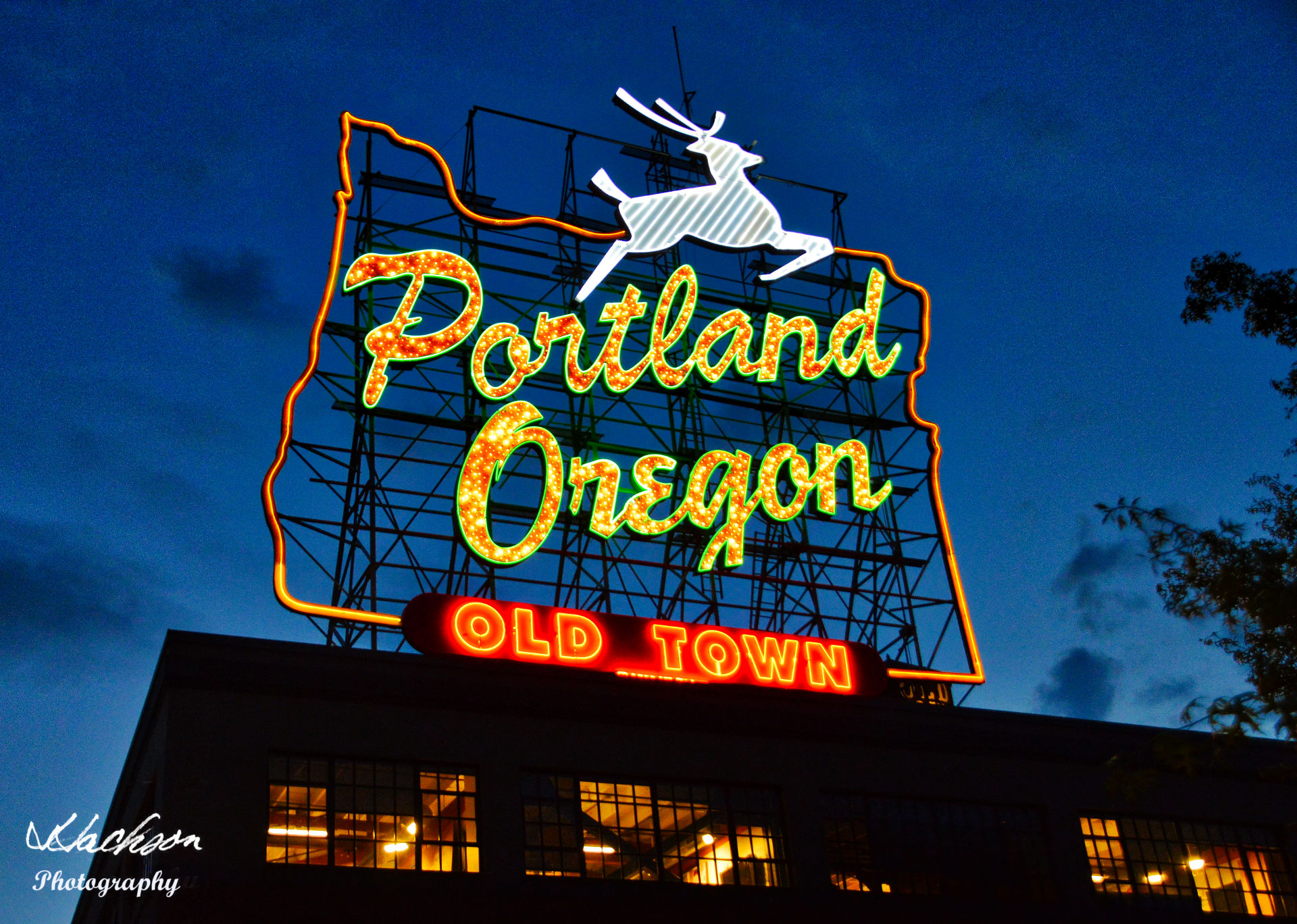 Photo of Old Town Portland Oregon neon sign